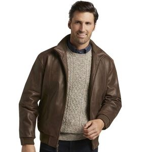JOS. A. BANK•leather brown bomber jacket xxl NWT